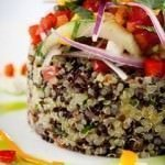 Quinoa salad served with cotija cheese, avocado, and olives at Andina Restaurant