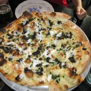 Morels, Scapes, Goat Cheese Pizza