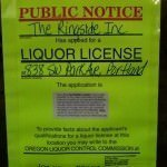 Ringside Fish House Liquor License Sign Portland