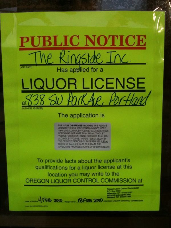 Ringside Fish House Liquor License sign