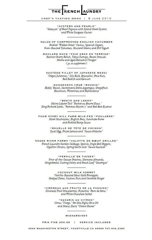 Dare To Dream The French Laundry Menu  Portland Food And Drink