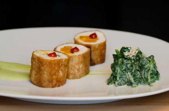 Aviary Restaurant Portland - Brioche-crusted halibut