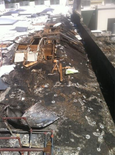 Barista Coffee / Aviary Restaurant roof after fire