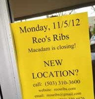 Reo's Closes, Penny Diner Set to Open, Lucier Space Leased?