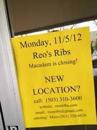 Reo's Ribs Portland Closed Sign
