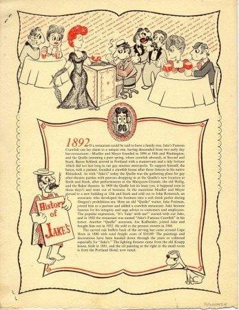 Jake's Portland vintage menu