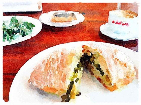 Porchetta Sando, beaten Kale Salad