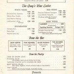 Menu The Quay Vancouver 1949