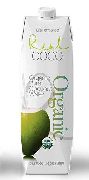 Real Coco Organic Coconut Water bottle