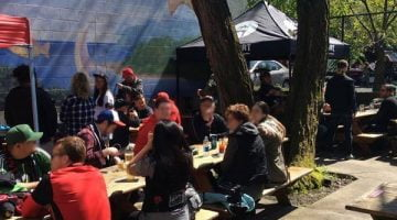 Cheerful Bullpen Portland outdoor dining