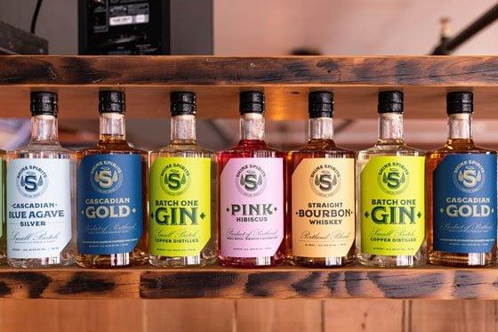 Bottles at Shine Distillery Portland