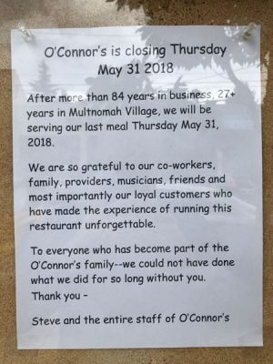 O'Connors closing sign