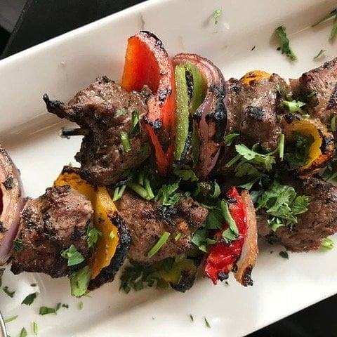 lamb kebabs at Nicolas restaurant in Portland